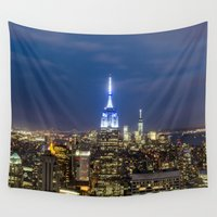 new york city Wall Tapestries featuring New York City, New York by Stuart Saunders