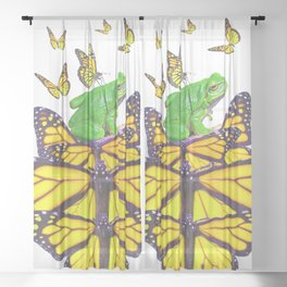 YELLOW MONARCHS PATTERN & GREEN FROG Sheer Curtain