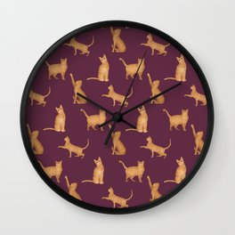 Yellow Gold Tabby Cats on Magenta Pattern Wall Clock
