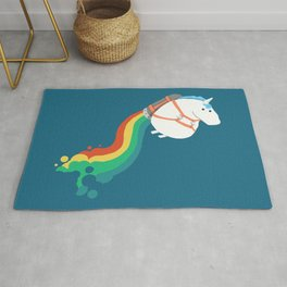 Fat Unicorn on Rainbow Jetpack Rug