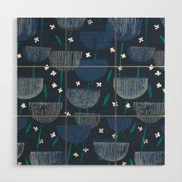 Botanical Block Print M+M Navy by Friztin Wood Wall Art