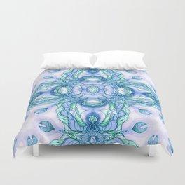 Light blue flowers mandala Duvet Cover