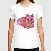 stickers T-shirts featuring SUNSET CAT by Ola Liola