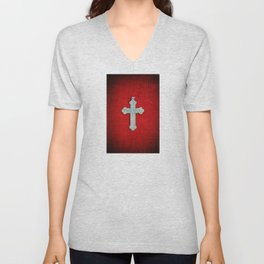 Red Crucifix Unisex V-Neck