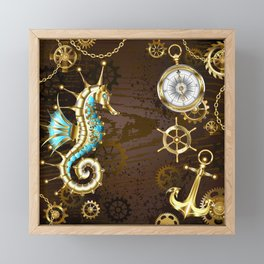 Wooden Background with Mechanical Seahorse ( Steampunk ) Framed Mini Art Print