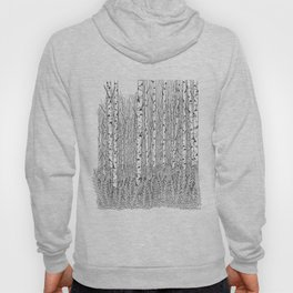 Birch Trees Black and White Illustration Hoody