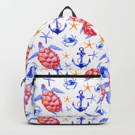 Pink violet watercolor hand painted nautical anchor turtles pattern Backpack