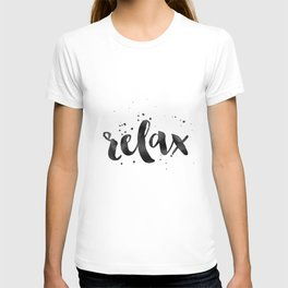 RELAX WALL ART, Relax Sign,Relax Quote,Watercolor Typography,Quote Prints,Motivational Poster,Black T-shirt