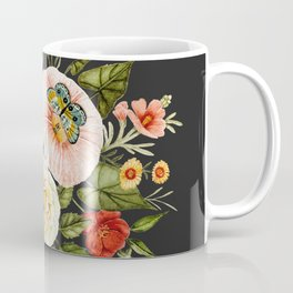 Wildflower and Butterflies Bouquet on Charcoal Black Coffee Mug
