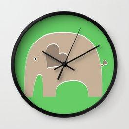 Green Safari Elephant 2 Wall Clock
