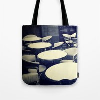 outdoor Tote Bags featuring Outdoor Cafe Chairs by ELIZABETH THOMAS Photography of Cape Cod