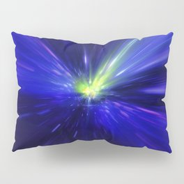 Interstellar, time travel and hyper jump in space. Flying through wormhole tunnel or abstract energy Pillow Sham