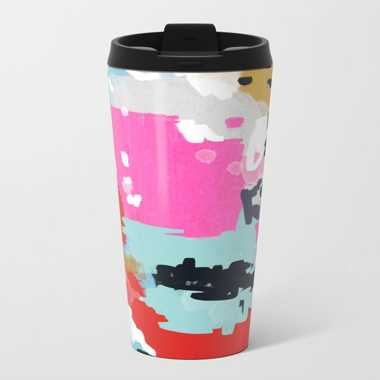 Charlotte - abstract minimal painting customized home decor original art by charlotte winter Metal Travel Mug