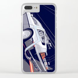 Back to the Future Delorean Time travel Artwork Clear iPhone Case