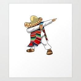 Mexican Poncho Dabbing T-Shirt Cinco de Mayo Art Print