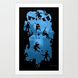 Ninja Kick Ass Clash Art Print