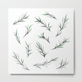 GREEN BRANCHES IN WATERCOLOR Metal Print