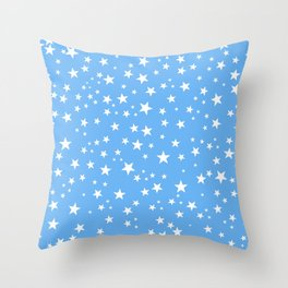 Space and stars blue background Throw Pillow