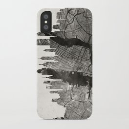 New York Skyline + Map #3 iPhone Case