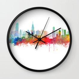 Chicago City Skyline Watercolor by zouzounioart Wall Clock