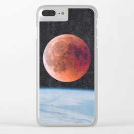 Blood Moon Over Earth Clear iPhone Case
