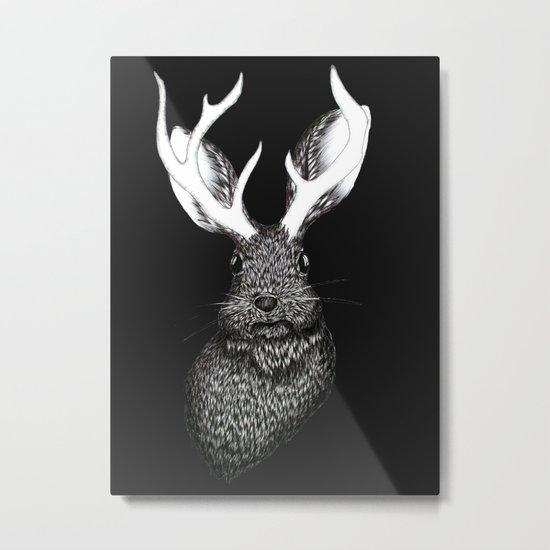 The Jackalope in Black Metal Print