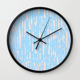 Sweet Life Ice Melt Stripes Peach Coral Pink + Blue Raspberry Wall Clock