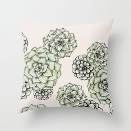 Rosette Succulents Throw Pillow