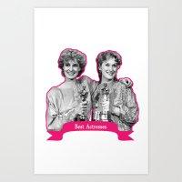 jessica lange Art Prints featuring Jessica Lange and Meryl Streep by BeeJL