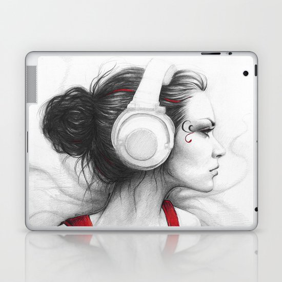 MUSIC Girl in Headphones Laptop & iPad Skin