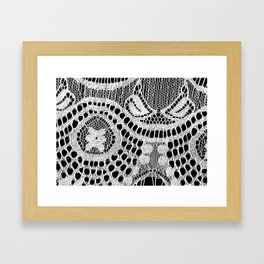 White Lace Pattern Framed Art Print