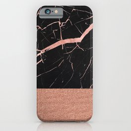Dark stormy rose gold marble iPhone Case