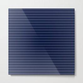 Navy Blue Pinstripe Lines Metal Print