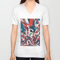 usa V-neck T-shirts featuring USA by Danny Ivan
