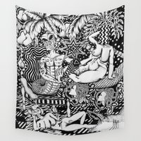 bisexual Wall Tapestries featuring Psychedelic Visions of the Bisexual Shaman Chicks by cahill wessel