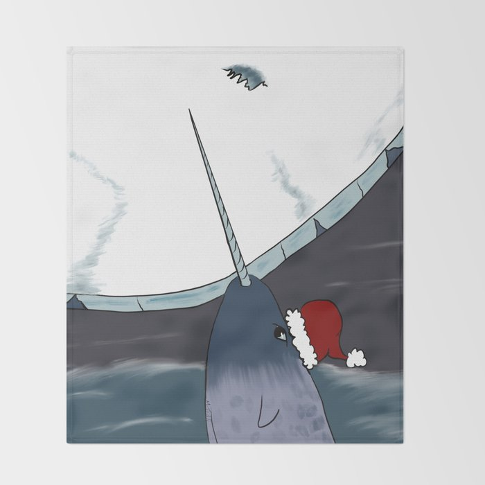 A Narwhal For Christmas Throw Blanket