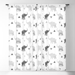 Elephants and Triangles - Silver Blackout Curtain