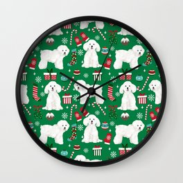 Bichon Frise Christmas dog breed pattern mittens stockings presents dog lover Wall Clock