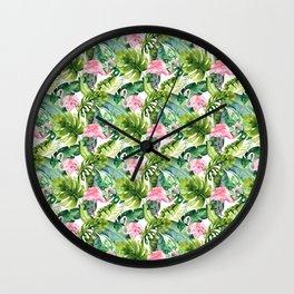 Pink green watercolor flamingo tropical monster leaves Wall Clock