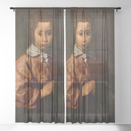 "Diego Velázquez ""Portrait of a Girl in Prayer"" or ""The Virgin Mary as a Child"" Sheer Curtain"