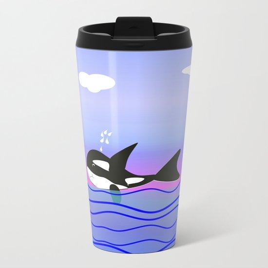 Happy Orca in the Ocean Metal Travel Mug