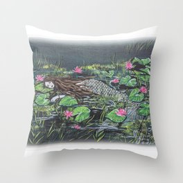 Mermaid,lilypads Throw Pillow