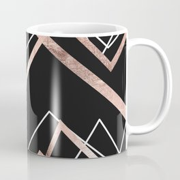 Rose Gold Black Linear Triangle Abstract Pattern Coffee Mug