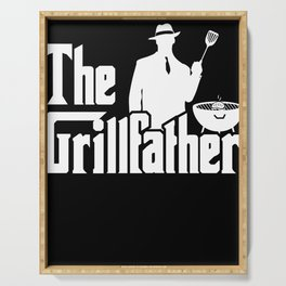 The Grillfather Funny BBQ Grilling graphic for Grill Master Serving Tray