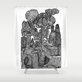 The Power plant BW Shower Curtain