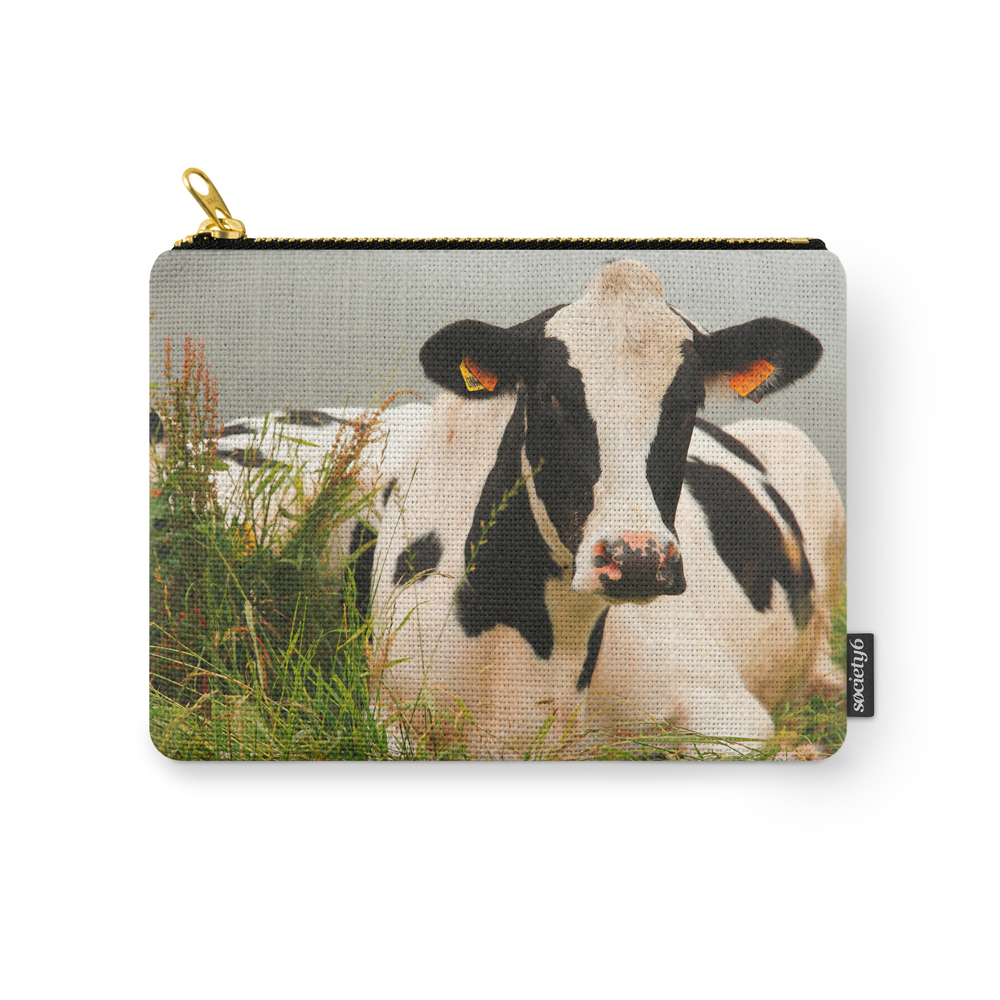 Holstein Cow Facing Camera Carry-All Pouch by gavila