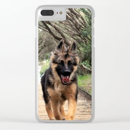 Fluffy Puppy Love Clear iPhone Case