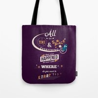 risa rodil Tote Bags featuring Time and Space by Risa Rodil