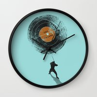 record Wall Clocks featuring Record Breaker by nicebleed