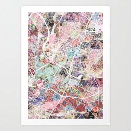Austin map - Portrait Art Print